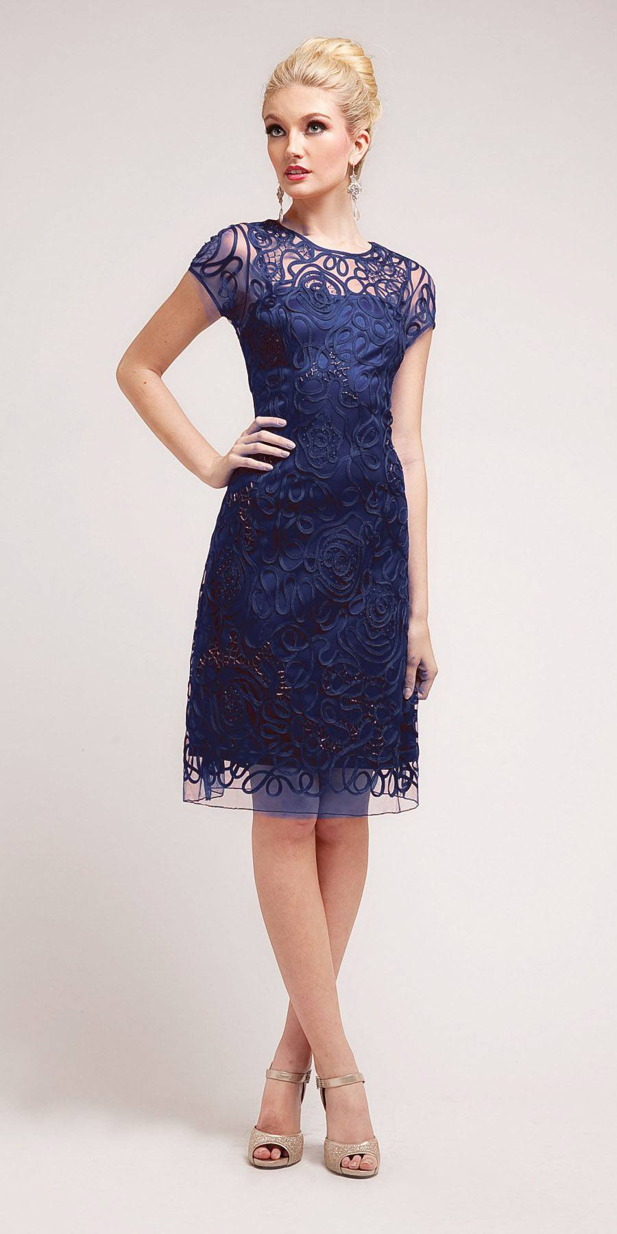 Cinderella Divine 1921 - Semi Formal Knee Length Lace Navy Blue ...