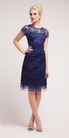 Cinderella Divine 1921 - Semi Formal Knee Length Lace Navy Blue Dress Short Sleeve