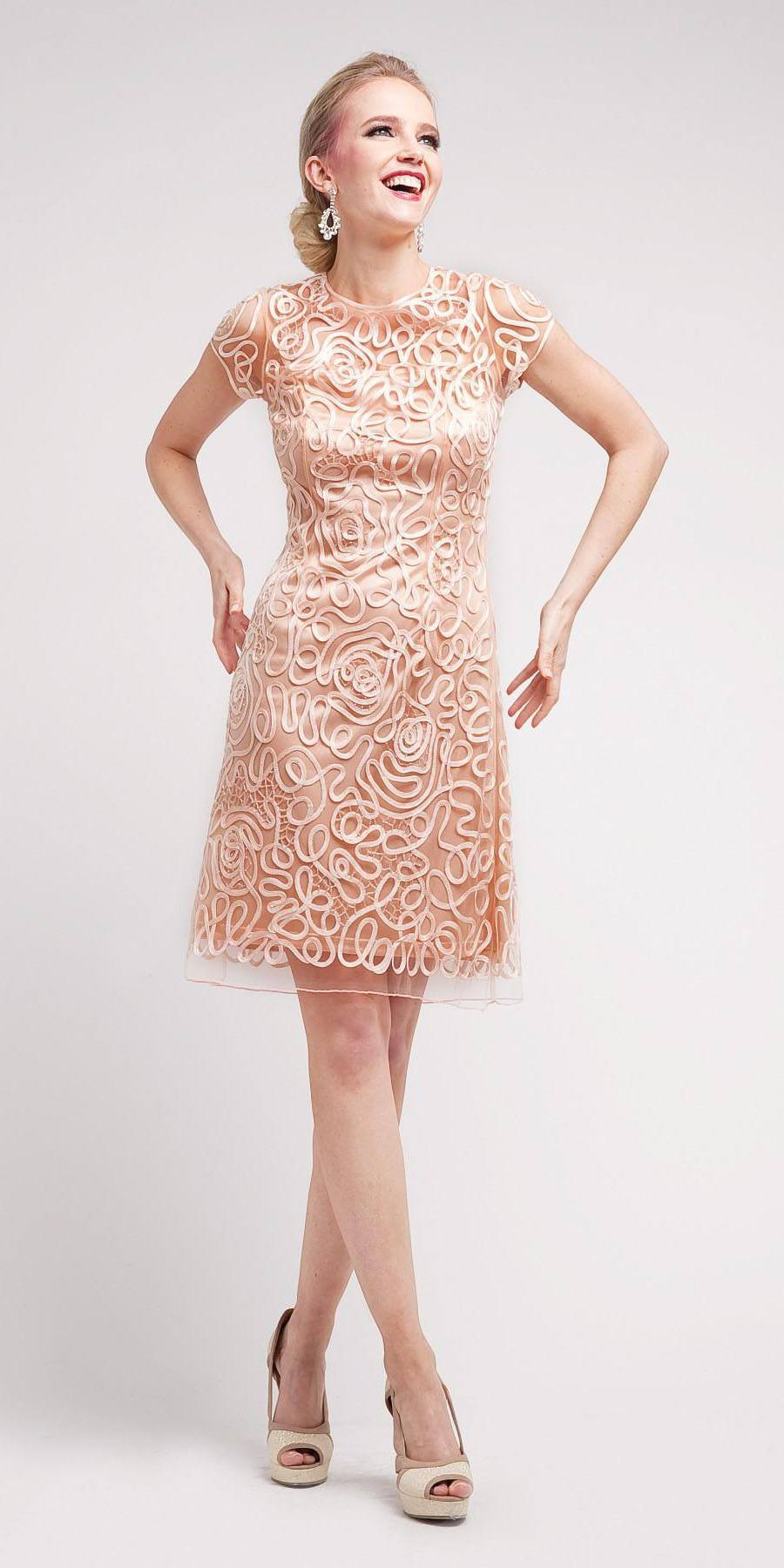 Cinderella Divine 1921 - Semi Formal Knee Length Lace Peach Dress Short  Sleeve ... 4622fab34