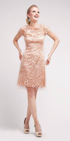 Cinderella Divine 1921 - Semi Formal Knee Length Lace Peach Dress Short Sleeve