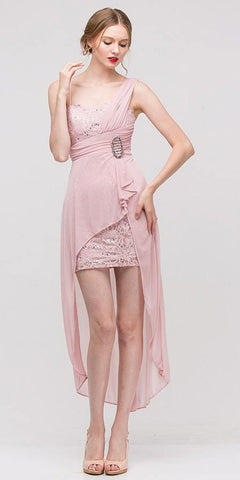 Spaghetti Strapped Short Chiffon Blush Pink Sheath Semi Formal Dress