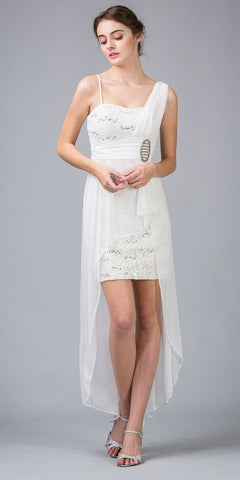 Spaghetti Strapped Short Chiffon Ivory Sheath Semi Formal Dress