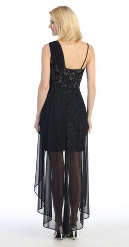 Spaghetti Strapped Short Chiffon Black Sheath Semi Formal Dress