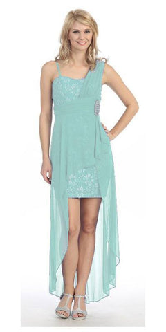 Spaghetti Strapped Short Chiffon Mint Sheath Semi Formal Dress