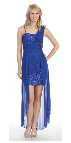 Spaghetti Strapped Short Chiffon Royal Blue Sheath Semi Formal Dress