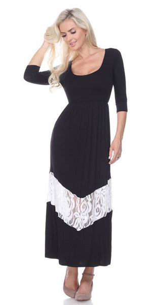 Quarter Sleeved Black Maxi Dress Scoop Neck