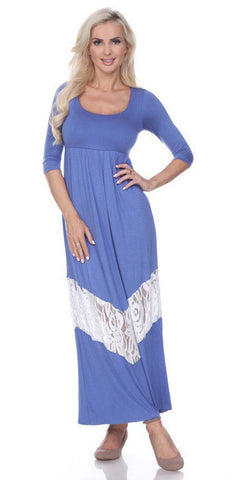 Quarter Sleeved Blue Maxi Dress Scoop Neck