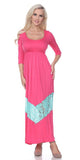 Quarter Sleeved Fuchsia Maxi Dress Scoop Neck
