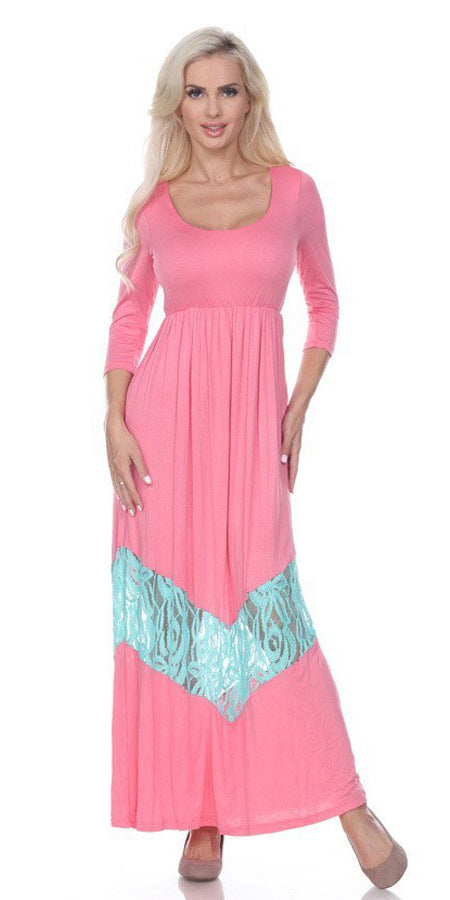 Quarter Sleeved Light Pink Maxi Dress Scoop Neck