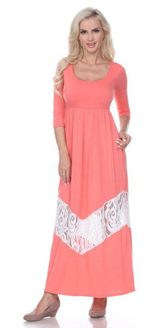 Sleeveless Long Lace Bodice Pleated Chiffon Dress Blush