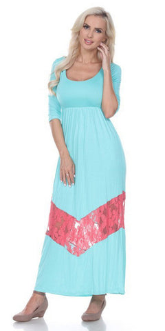 Quarter Sleeved Teal Maxi Dress Scoop Neck
