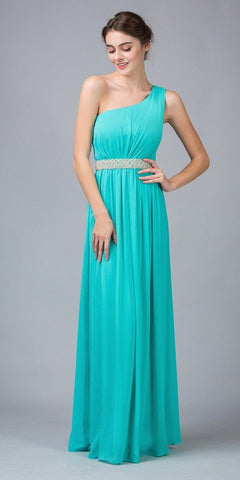 Eureka Fashion 1924 Grecian Inspired Mint Chiffon Gown Long One Shoulder