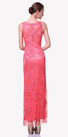 Cinderella Divine 1925 - Ankle Length Lace Coral Back  Semi Formal Gown Bateau Neck