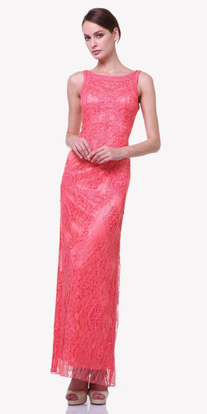 Cinderella Divine 1925 - Ankle Length Lace Coral Semi Formal Gown Bateau Neck