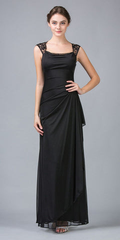 Eureka Fashion 1927 Keyhole Back Sheer Strapped Long Black Formal Gown