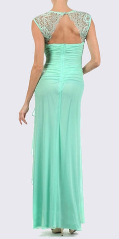 Eureka Fashion 1927 Keyhole Back Sheer Strapped Long Mint Formal Gown