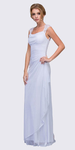 Eureka Fashion 1927 Keyhole Back Sheer Strapped Long White Formal Gown