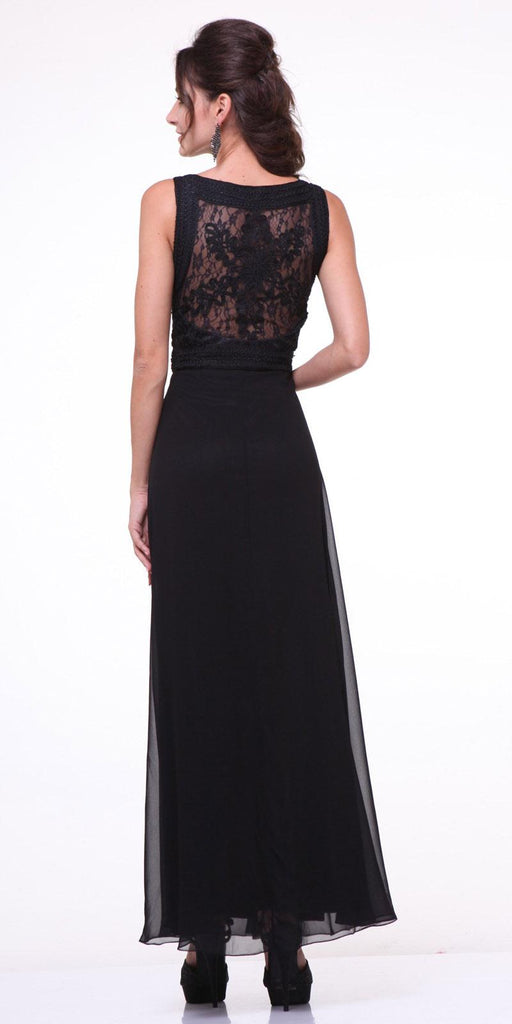 Cinderella Divine 1938 - Lace Bodice Overlay Sleeveless Long Evening Dress Black