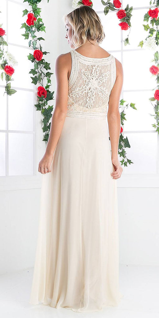 Cinderella Divine 1938 - Lace Bodice Overlay Sleeveless Long Evening Dress Cream Back