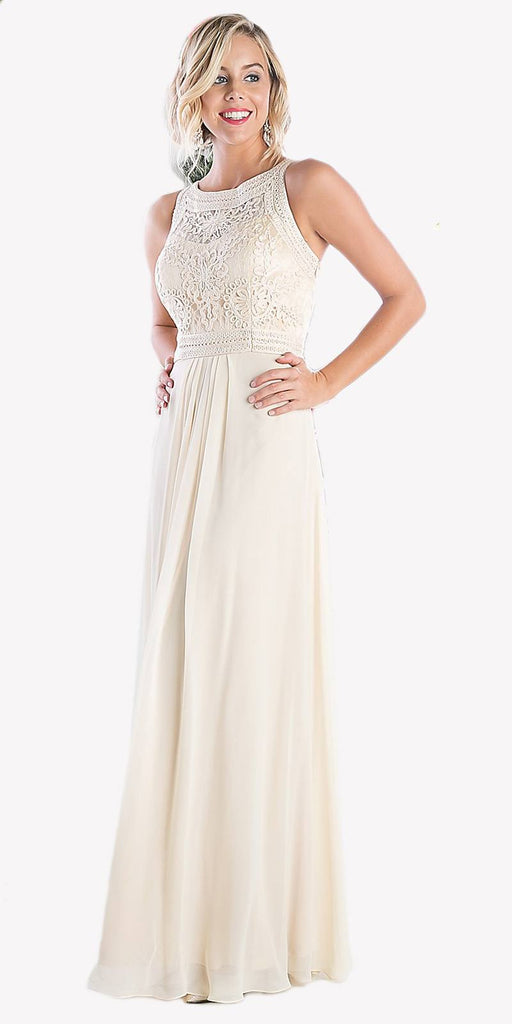 Cinderella Divine 1938 - Lace Bodice Overlay Sleeveless Long Evening Dress Cream
