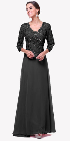 Cinderella Divine 1939 Full Length Mother of Bride Black Gown 3/4 Length Lace Sleeve