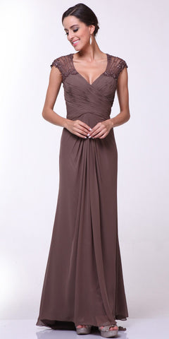 Cap Sleeves Brown Floor Length Evening Dress Sheer Back
