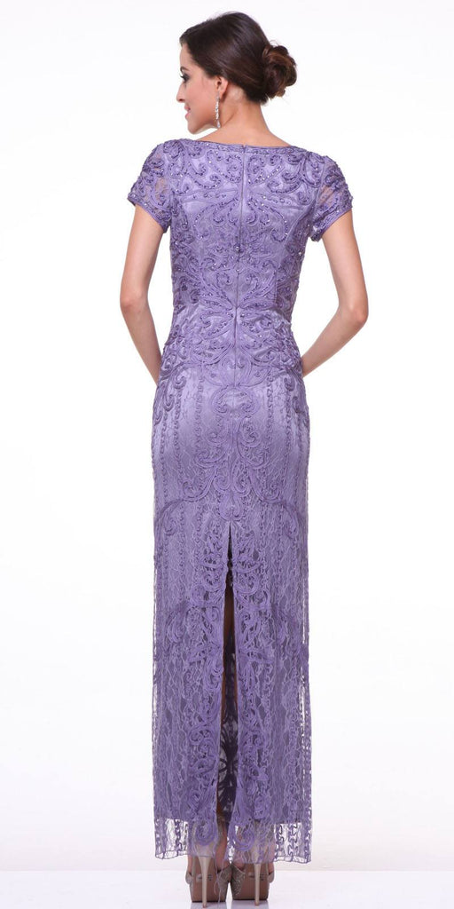 Cap Sleeves Floor Length Evening Dress Dark Lilac Back Slit