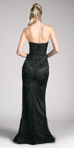 Sweetheart Neckline Appliqued Strapless Prom Gown Black