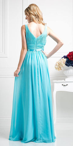 Long Sleeveless Bridesmaid Dress Aqua with Empire Waist