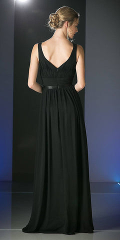 Long Sleeveless Bridesmaid Dress Black with Empire Waist