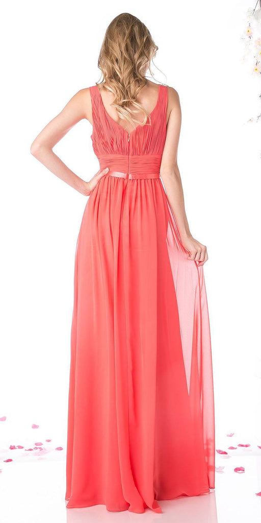 Long Sleeveless Bridesmaid Dress Coral with Empire Waist