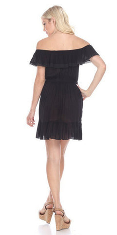 Ruffled Off-Shoulder Short Party Dress Black