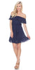 Ruffled Off-Shoulder Short Party Dress Navy Blue