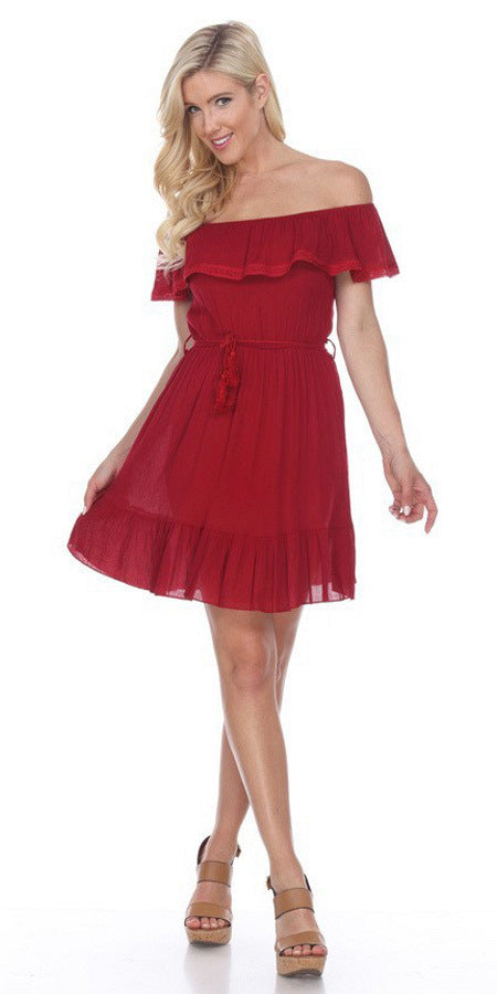 Ruffled Off-Shoulder Short Party Dress Red