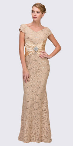 Eureka Fashion 2003 Short Sleeved V Neckline Long Gold Lace Column Gown