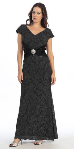 Short Sleeved V Neckline Long Black Lace Column Gown