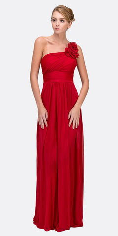Rosette Strapped Sleeveless Long Red Formal Column Gown