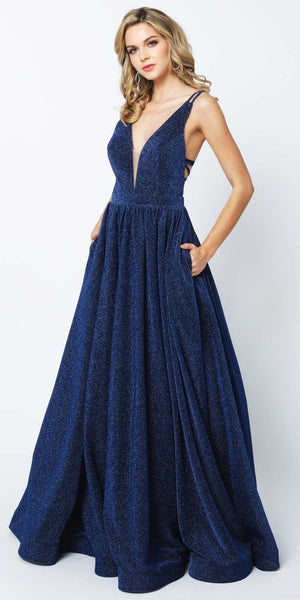 Juliet 201 Plunging V-Neckline Long Glitter Prom Dress Navy Blue A-Line