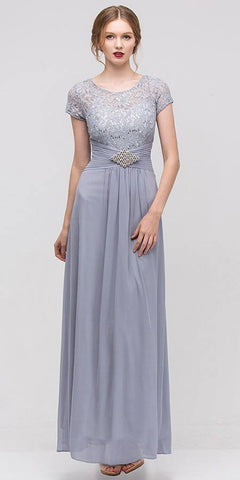 Long Lace Bodice Scoop Neck A Line Silver Formal Dress