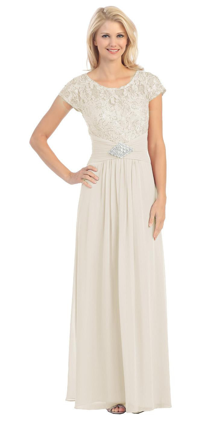 Long Lace Bodice Scoop Neck A Line Ivory Formal Dress