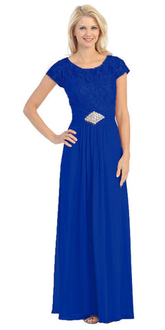Long Lace Bodice Scoop Neck A Line Royal Formal Dress