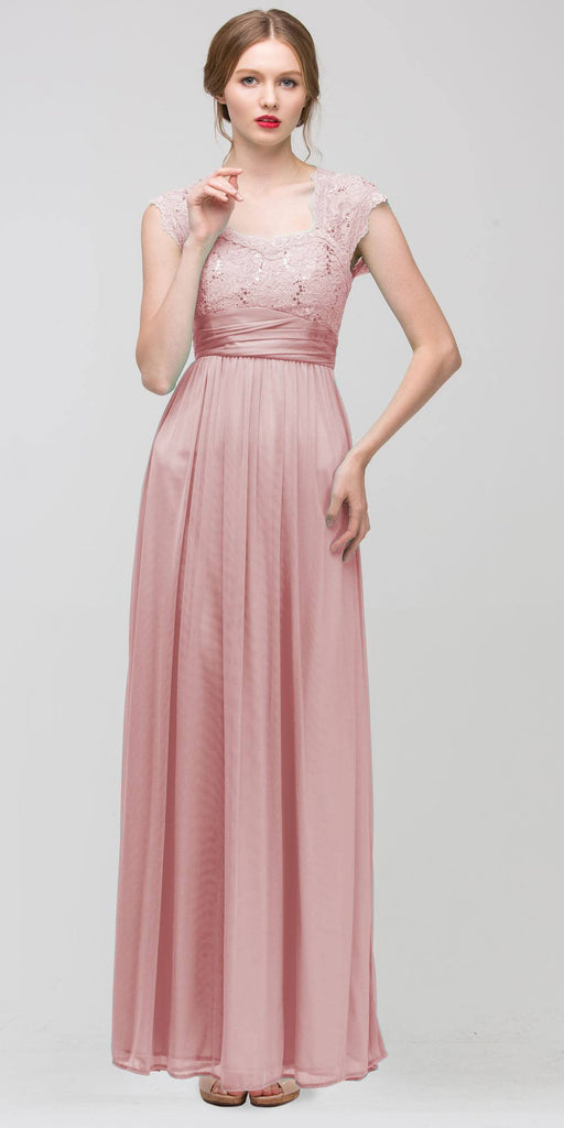 Sweetheart Neck Lace Bodice Dusty Pink Floor Length Dress