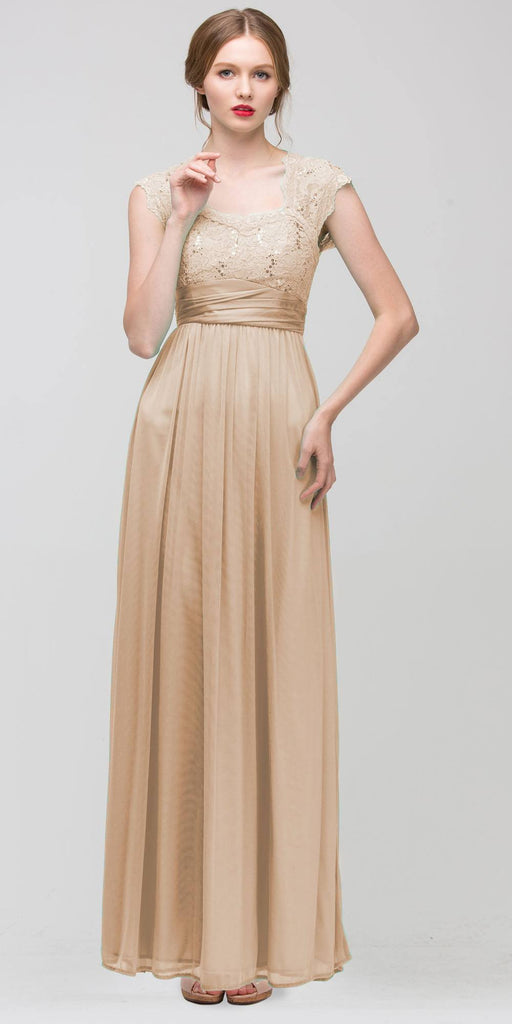 Sweetheart Neck Lace Bodice Gold Floor Length Dress