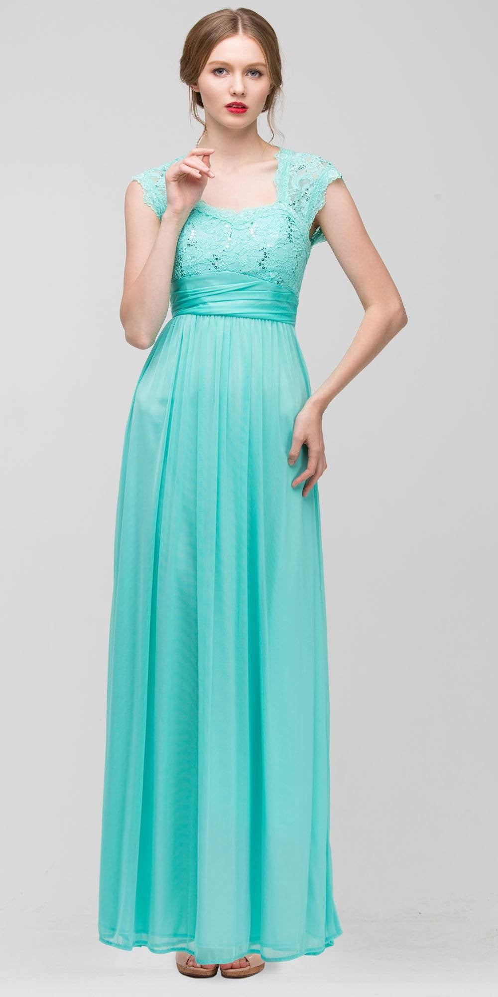 Sweetheart Neck Lace Bodice Mint Floor Length Dress