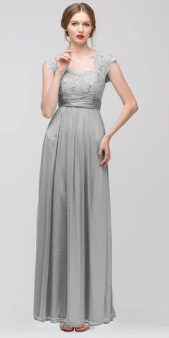 Sweetheart Neck Lace Bodice Silver Floor Length Dress