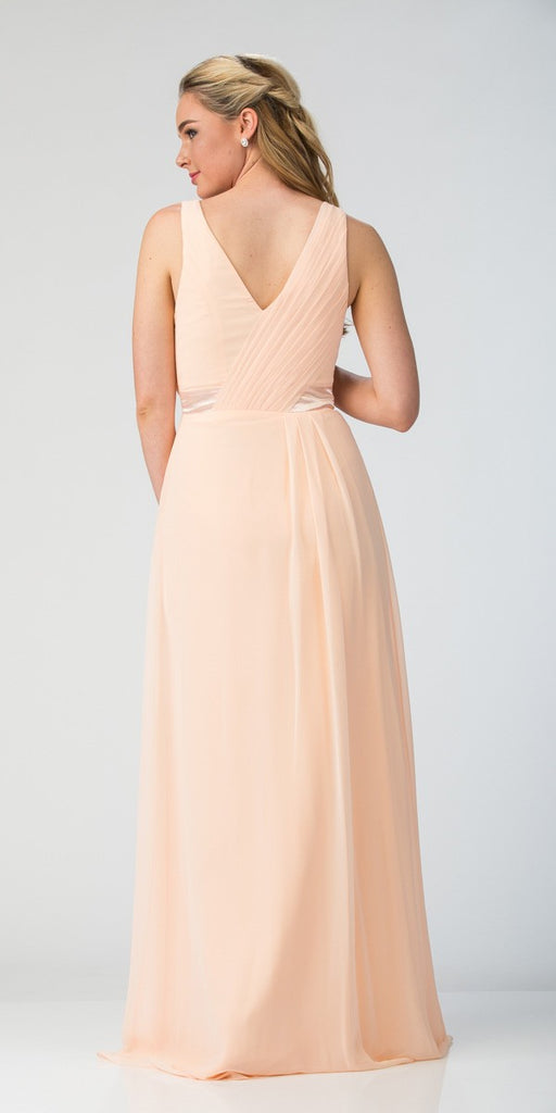 Starbox USA 20263 Long Thigh Slit Sleeveless V Neckline Peach Formal Gown Back View