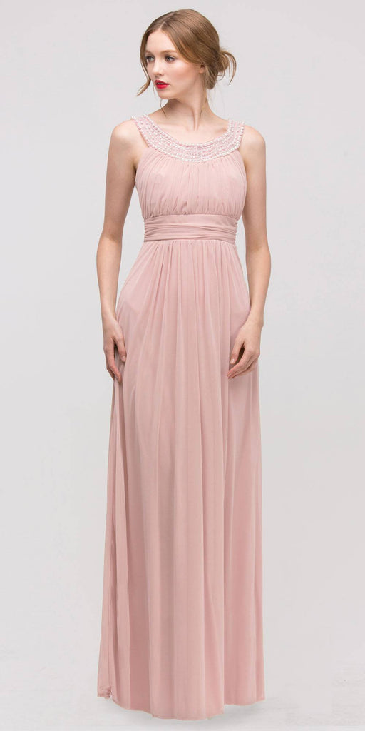 Studded Bateau Neckline Ruched Bodice Dusty Pink Evening Dress