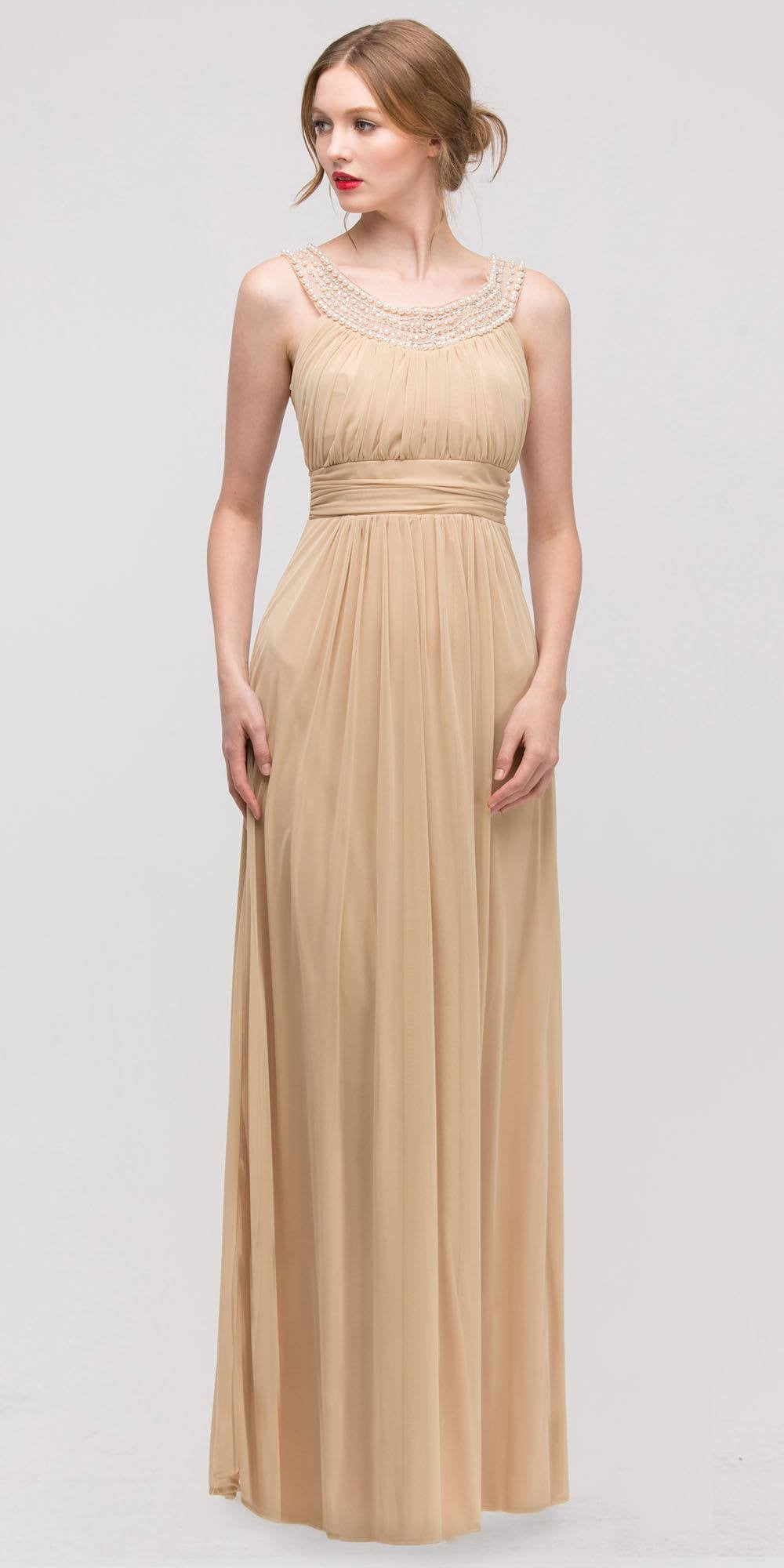 Studded Bateau Neckline Ruched Bodice Gold Evening Dress