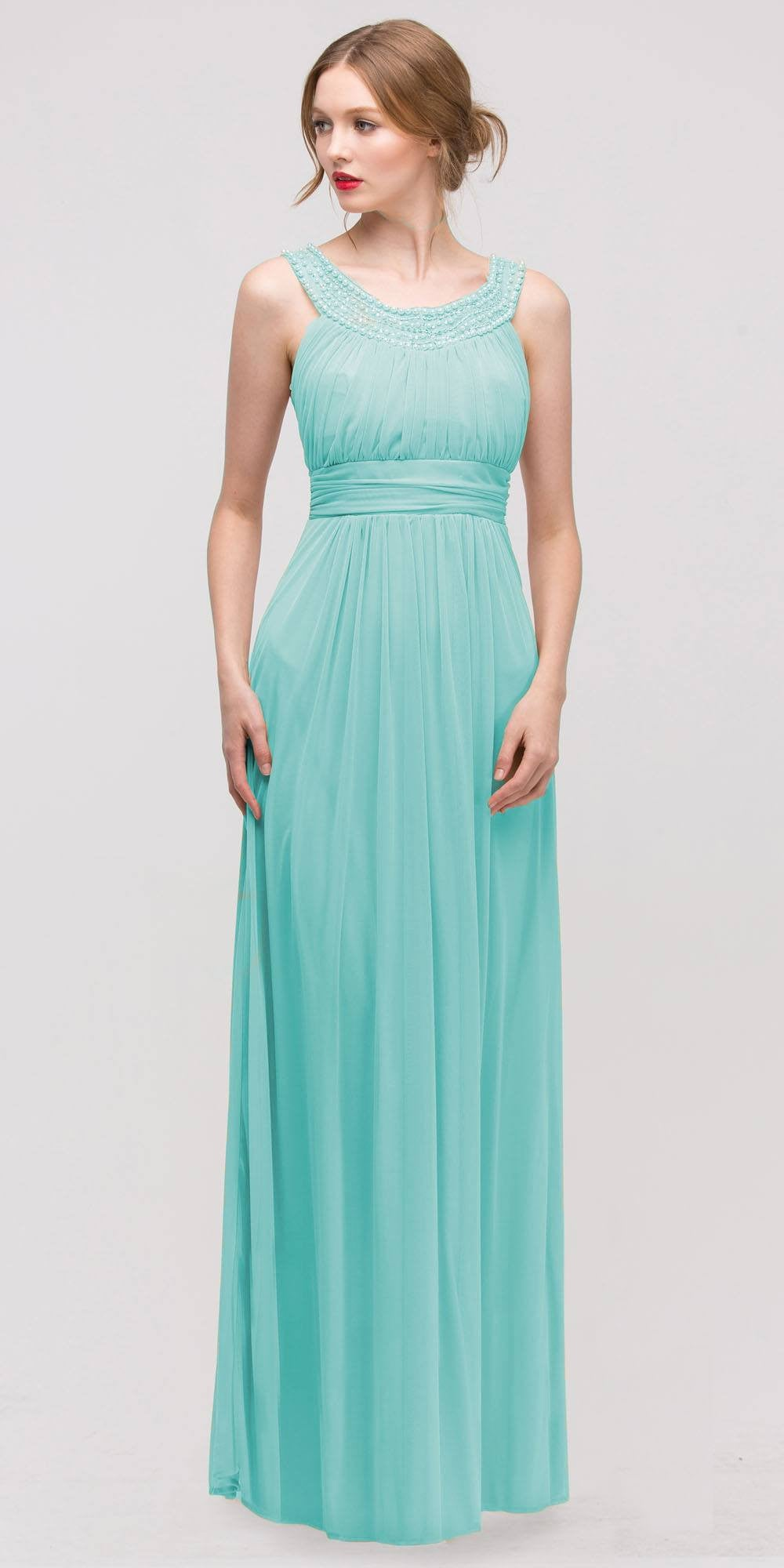 Studded Bateau Neckline Ruched Bodice Mint Evening Dress