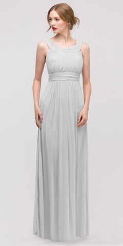 Studded Bateau Neckline Ruched Bodice Silver Evening Dress